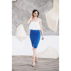 Instinct. Pieštuko formos mėlynas sijonas